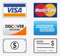 We accept: Visa, Master Card, Discover, Amex, Cash, Checks e.t.c.